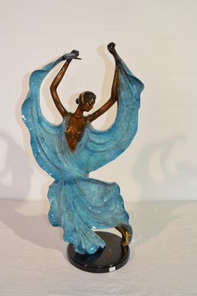 PAINTED BRONZE SCULPTURE OF DECO DANCER