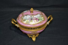HAND PAINTED SEVRES POTPOURI BOX WITH BRONZE