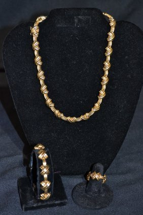 """14kt GOLD X FORM MATCHING 16"""" NECKLACE ,"""
