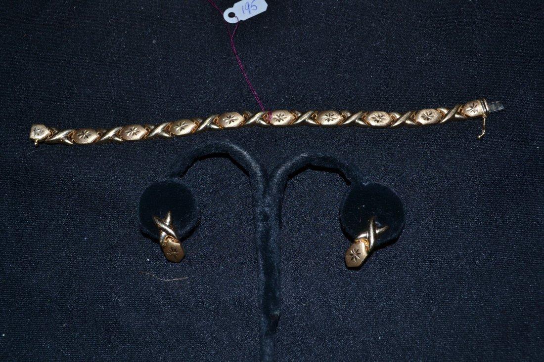 "280N: 14kt GOLD BRACELET & MATCHING EARRINGS - 7 1/4"""