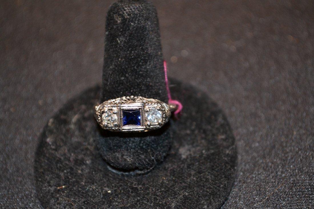 280O: 18kt DIAMOND & SAPPHIRE RING - SIZE 6 3/4