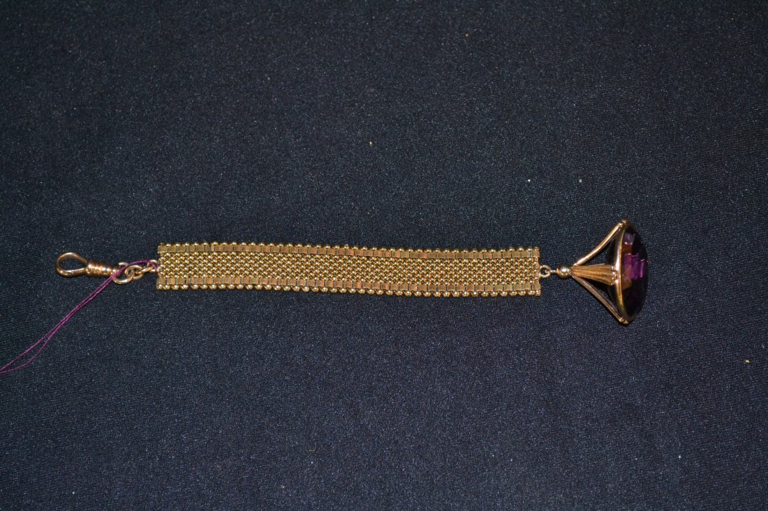 """280Q: 14kt WATCH FOB WITH LARGE AMETHYST - 21.1dwt , 7"""""""