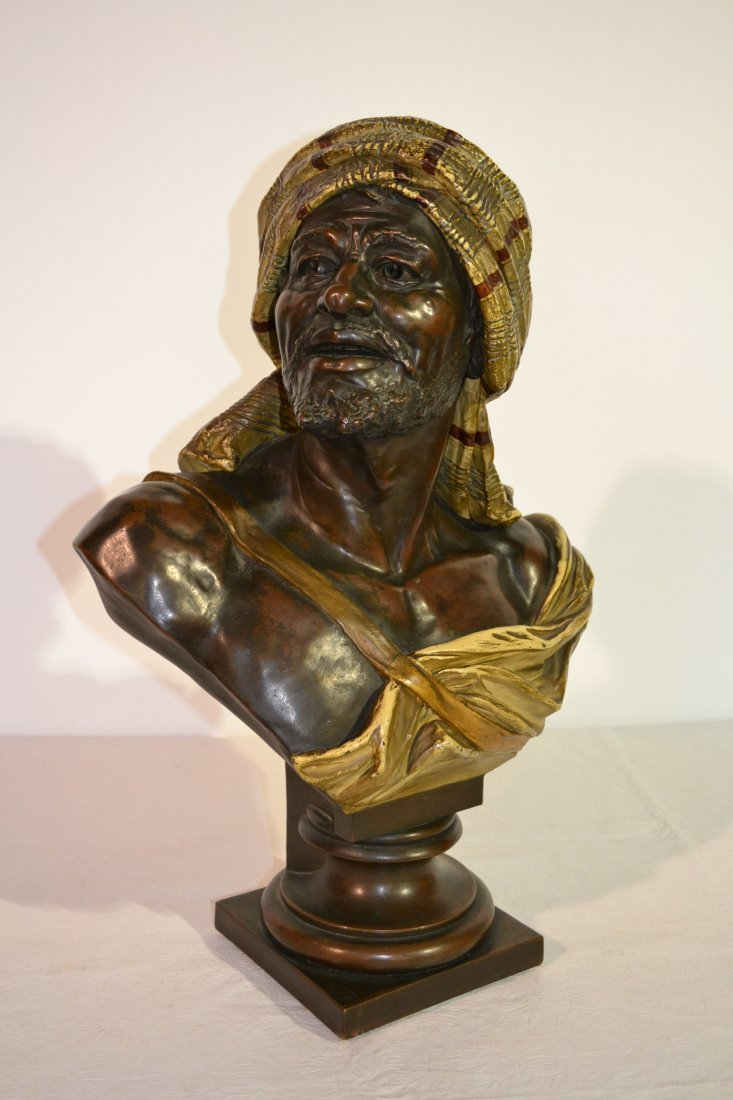 288: 19thC COPPER LINED TERRACOTTA ARAB BUST SIGNED