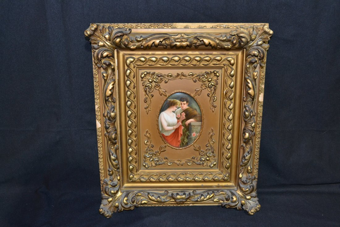 289: OVAL HAND PAINTED GERMAN PORCELAIN LOVERS PLAQUE
