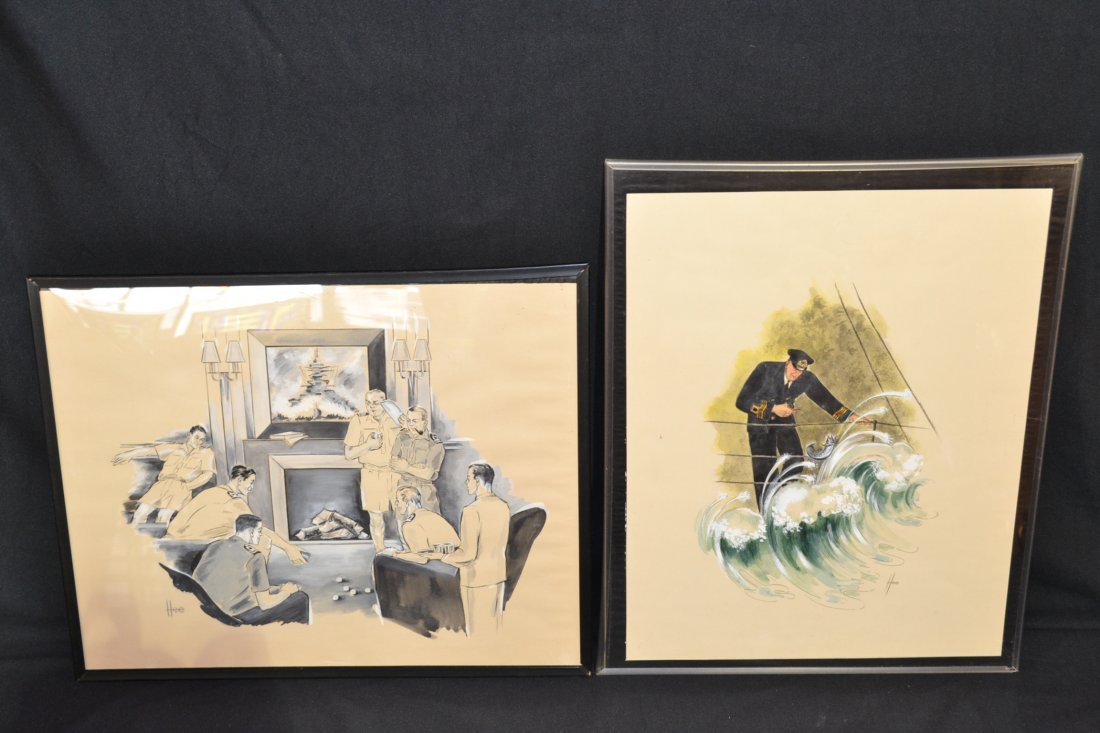 228A: (2) NAVAL OFFICER ILLUSTRATIONS SIGNED HEE