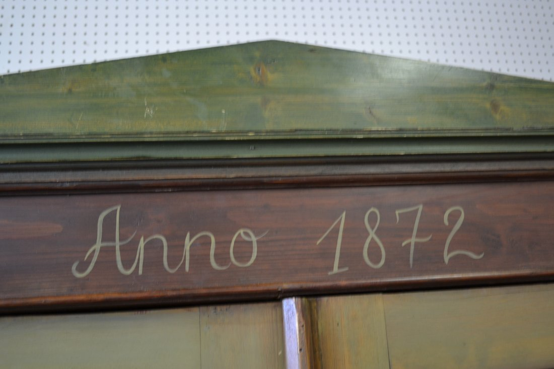 454A: ANNO 1872 FOLK ART PAINT DECORATED PINE ARMOIRE - 10