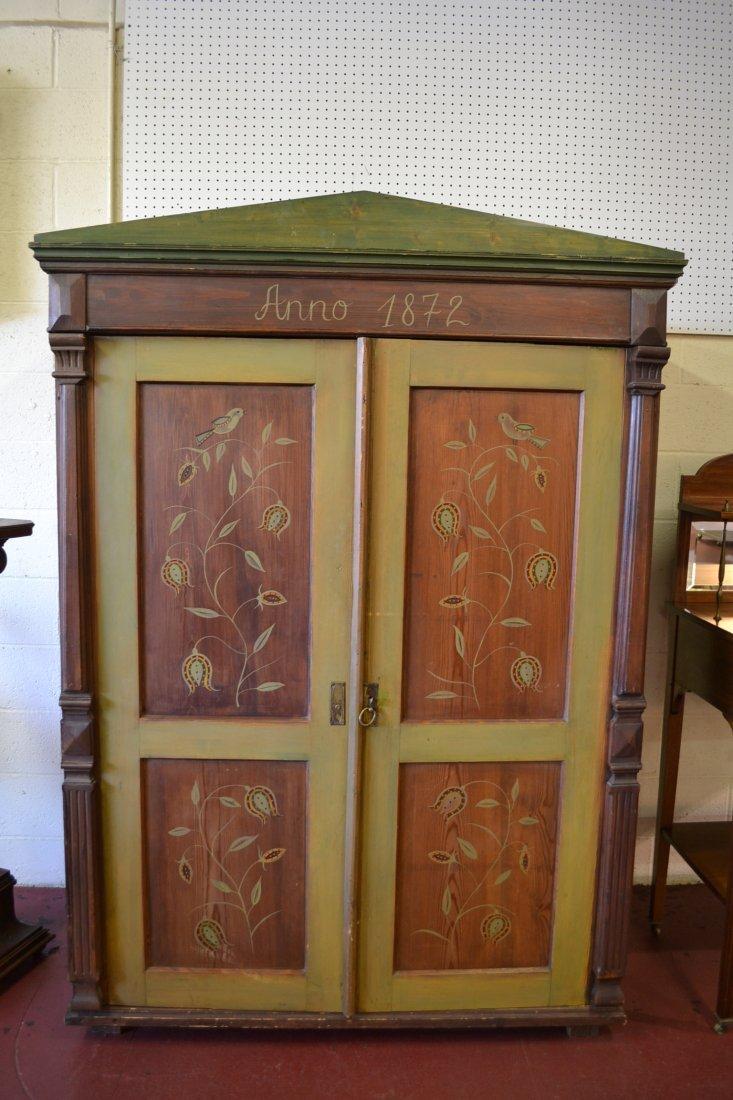 454A: ANNO 1872 FOLK ART PAINT DECORATED PINE ARMOIRE