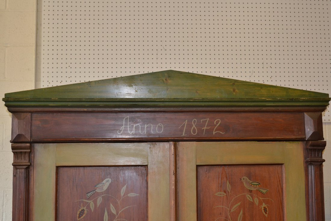 454A: ANNO 1872 FOLK ART PAINT DECORATED PINE ARMOIRE - 2