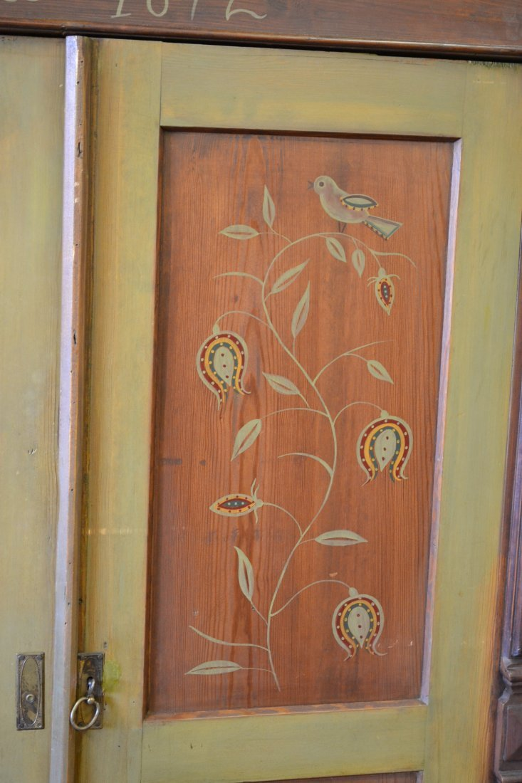 454A: ANNO 1872 FOLK ART PAINT DECORATED PINE ARMOIRE - 3