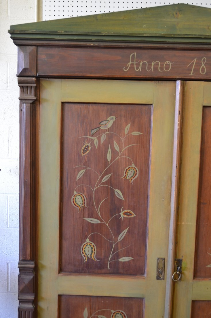 454A: ANNO 1872 FOLK ART PAINT DECORATED PINE ARMOIRE - 4