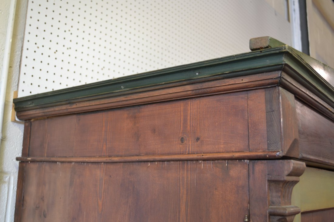 454A: ANNO 1872 FOLK ART PAINT DECORATED PINE ARMOIRE - 8