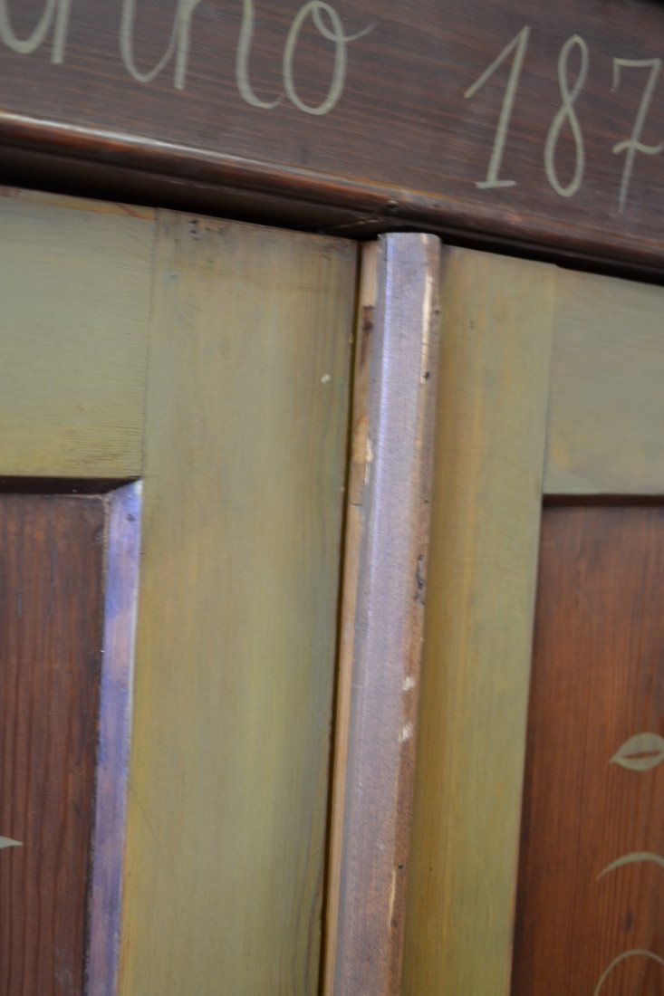 454A: ANNO 1872 FOLK ART PAINT DECORATED PINE ARMOIRE - 9