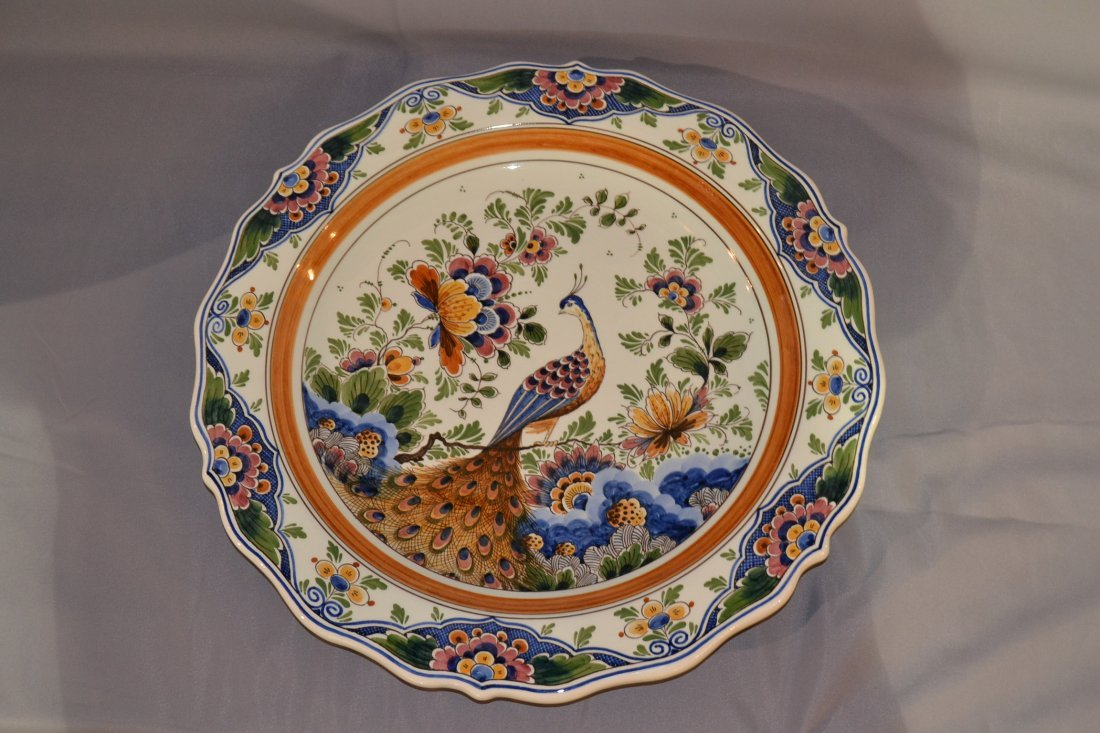 205A: 17in HAND PAINTED DELFT PEACOCK CHARGER