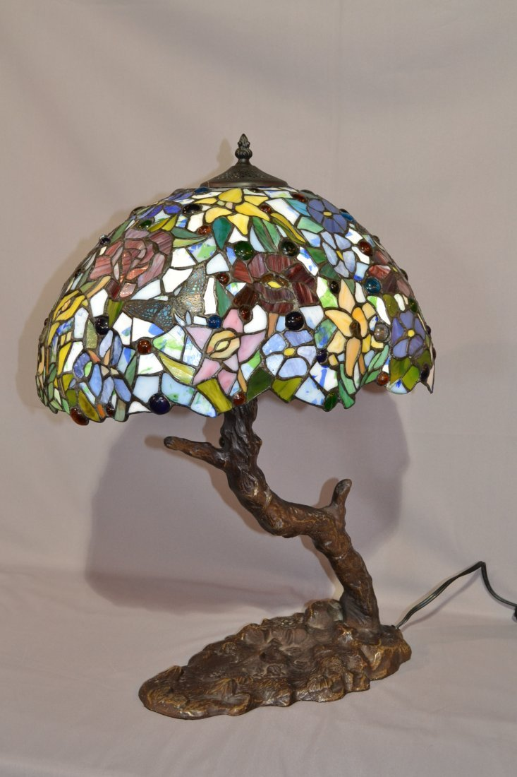221A: LEADED GLASS LAMP WITH BRANCH FORM BASE