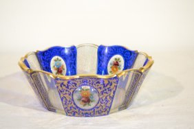 """211: MOSER STYLE BOWL WITH FLORAL MEDALLIONS - 8"""" x 3"""""""