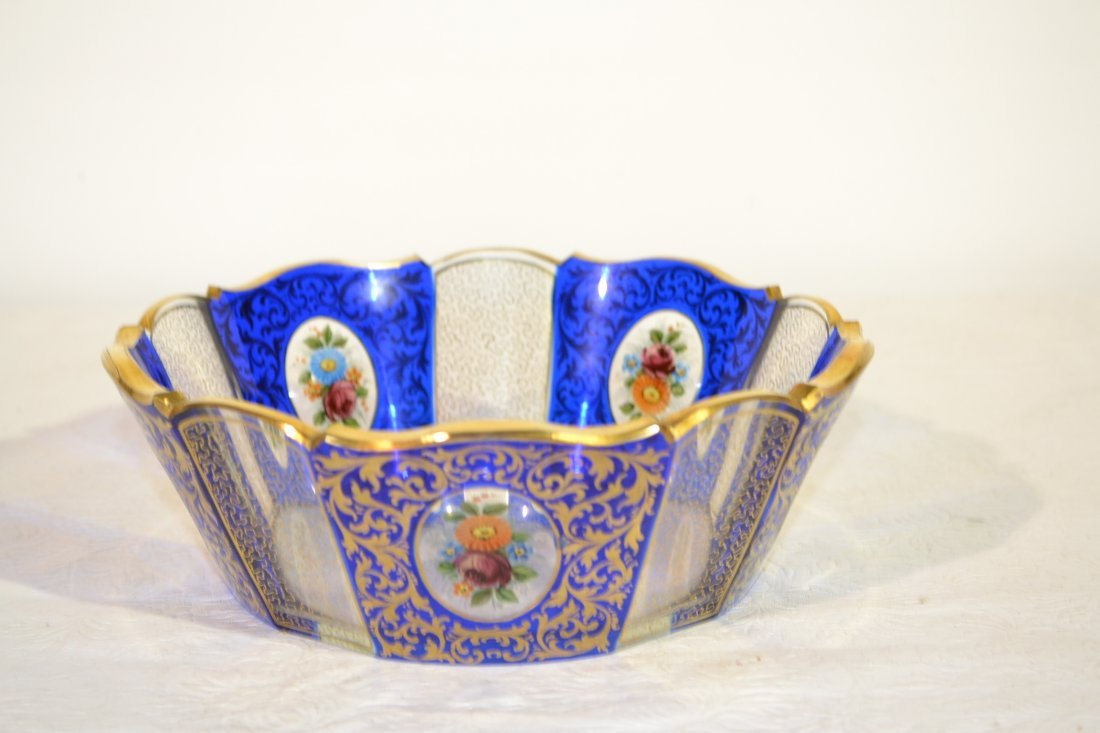 "211: MOSER STYLE BOWL WITH FLORAL MEDALLIONS - 8"" x 3"""
