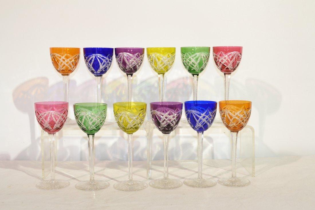 212: (12) CUT TO CLEAR CRYSTAL RHINEWINE GLASSES
