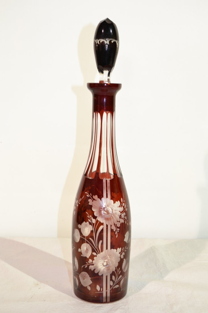 213: RUBY DECANTER WITH ETCHED FLOWERS - 16 3/4""