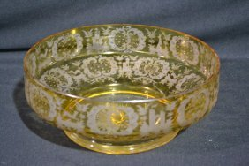 """214: ETCHED AMBER BOHEMIAN BOWL - 10 1/4"""" x 4"""""""