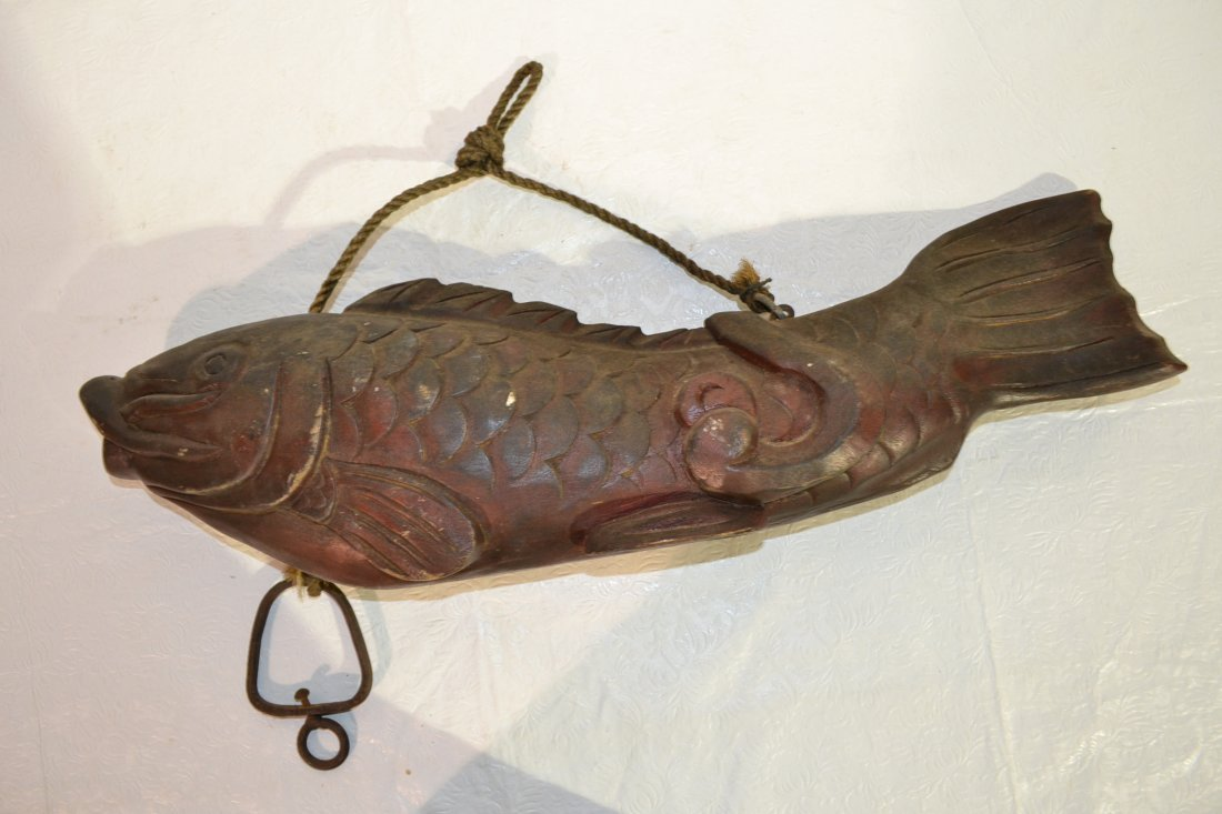"220: WOOD JAPANESE FISH FORM HEARTH HANGER - 24"" x 7"""