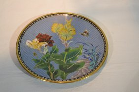 221: CLOISONNE CHARGER WITH FLOWERS & BUTTERFLIES