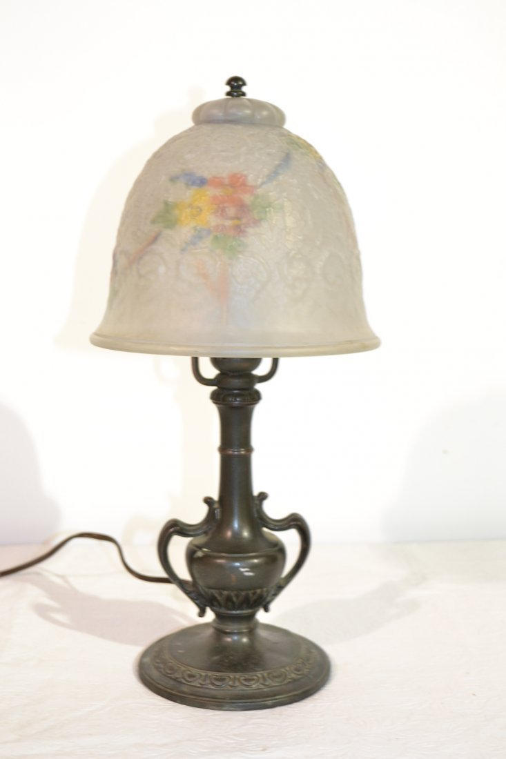 222: REVERSE PAINTED BOUDOIR LAMP WITH PAIRPOINT BASE