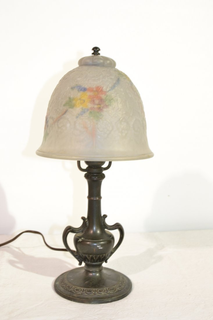222: REVERSE PAINTED BOUDOIR LAMP WITH PAIRPOINT BASE - 2