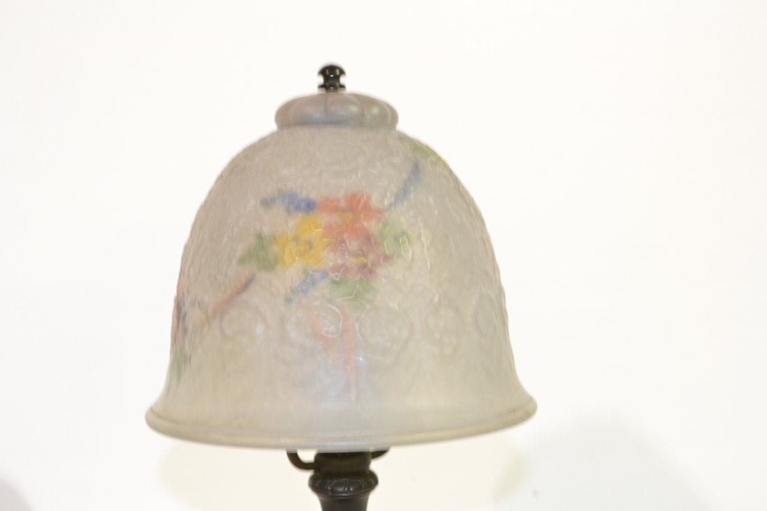 222: REVERSE PAINTED BOUDOIR LAMP WITH PAIRPOINT BASE - 3