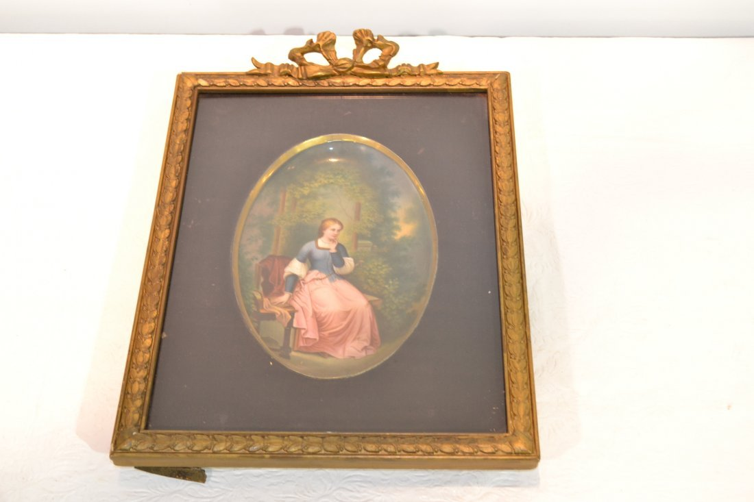 271: HAND PAINTED OVAL PORCELAIN PLAQUE OF WOMAN
