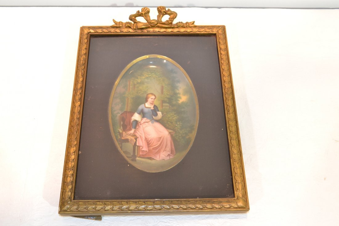 271: HAND PAINTED OVAL PORCELAIN PLAQUE OF WOMAN - 2