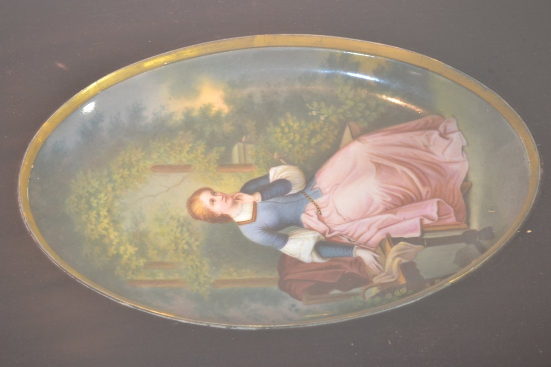 271: HAND PAINTED OVAL PORCELAIN PLAQUE OF WOMAN - 3