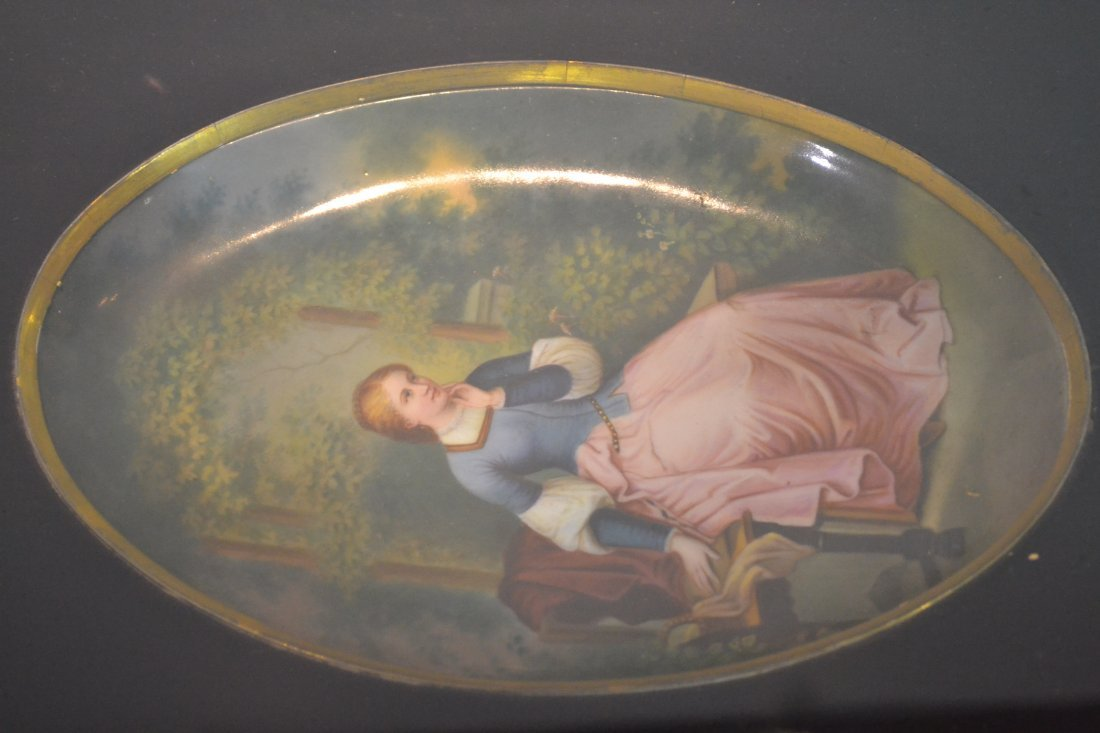 271: HAND PAINTED OVAL PORCELAIN PLAQUE OF WOMAN - 4