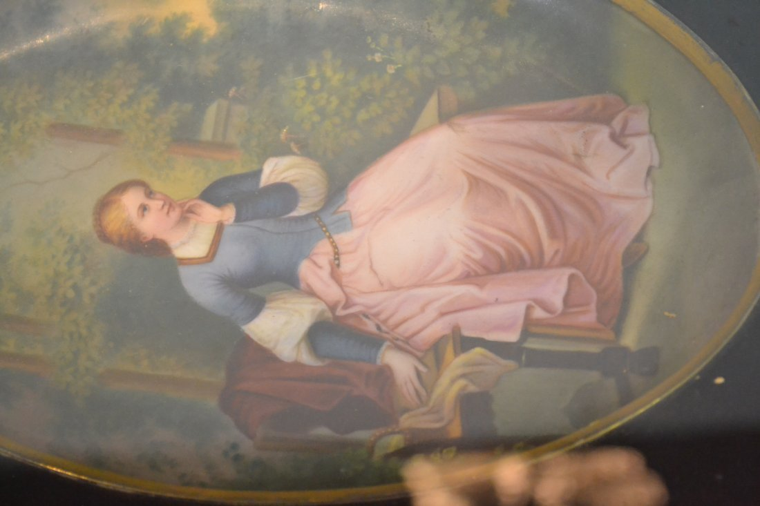 271: HAND PAINTED OVAL PORCELAIN PLAQUE OF WOMAN - 5