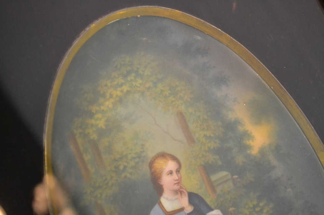 271: HAND PAINTED OVAL PORCELAIN PLAQUE OF WOMAN - 6