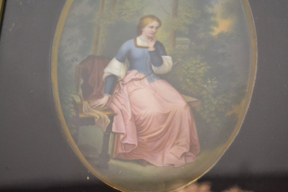 271: HAND PAINTED OVAL PORCELAIN PLAQUE OF WOMAN - 7