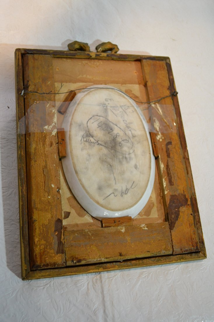 271: HAND PAINTED OVAL PORCELAIN PLAQUE OF WOMAN - 9