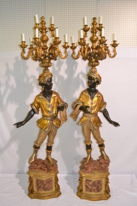 (Pr) POLYCHROME PAINTED BLACKAMOOR FIGURES