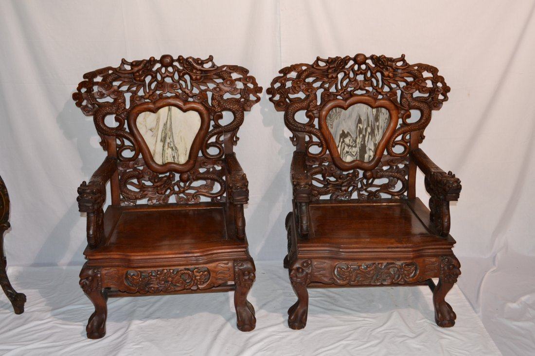297: (Pr) HEAVILY CARVED ORIENTAL CHAIRS WITH PIERCED