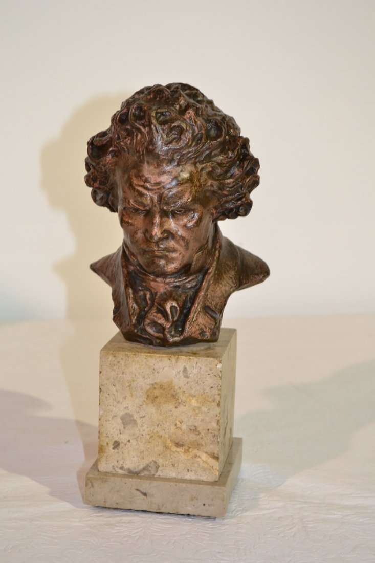 201: BEETHOVEN BUST ON MARBLE SIGNED FIDE LUCA