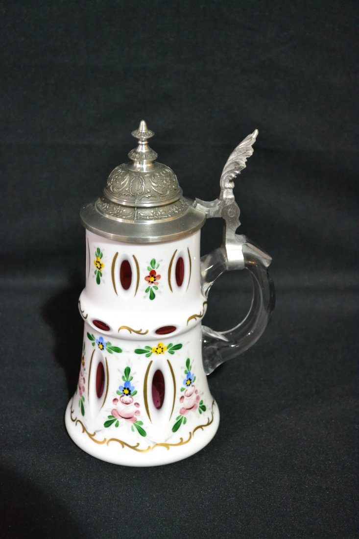 202: BOHEMIAN CRANBERRY CASED GLASS STEIN WITH