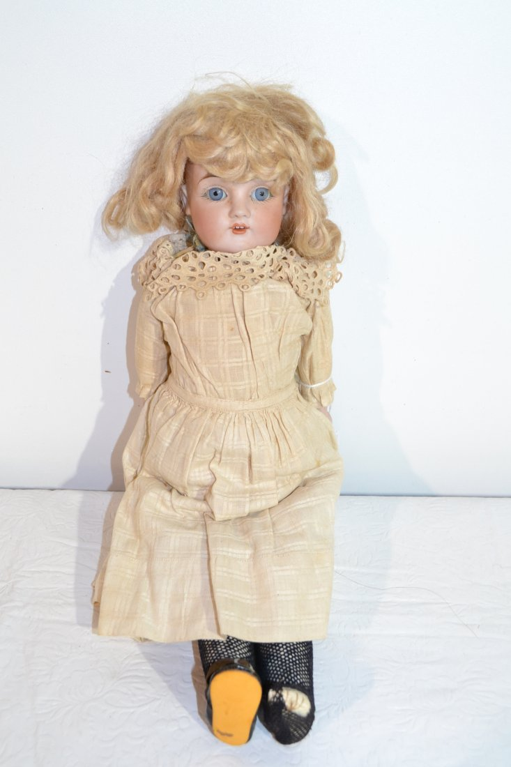 "205: 14"" GERMAN BISQUE SHOULDER HEAD DOLL WITH"