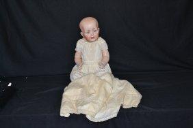 207: HERTEL & SCHWAB SOLID DOME BABY BISQUE HEAD DOLL