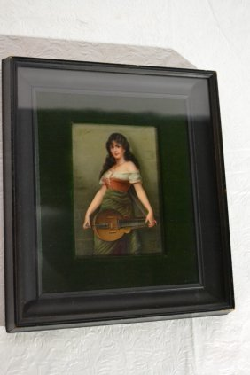 FRAMED HAND PAINTED GERMAN PLAQUE OF GIRL