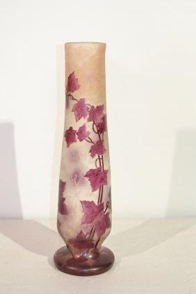 313: FLORAL ART GLASS CAMEO VASE SIGNED LEGRAS