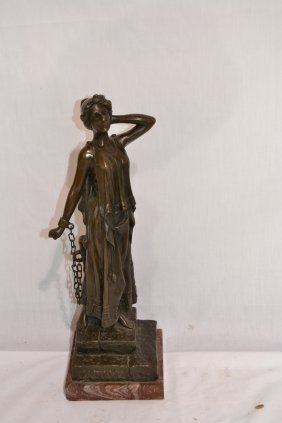"""203A: BRONZE WOMAN TITLED """"CAPTIVE"""" ON MARBLE BASE"""