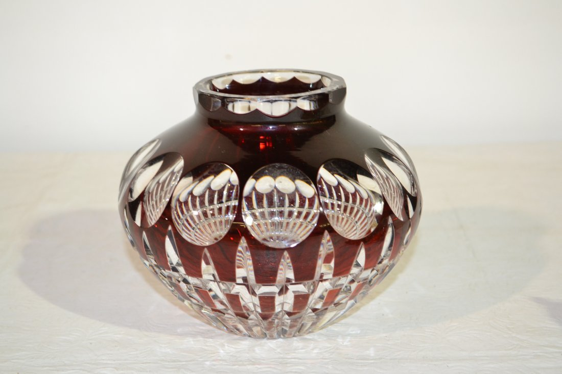 """201: RUBY CUT TO CLEAR VASE - 6"""" x 4 1/2"""""""