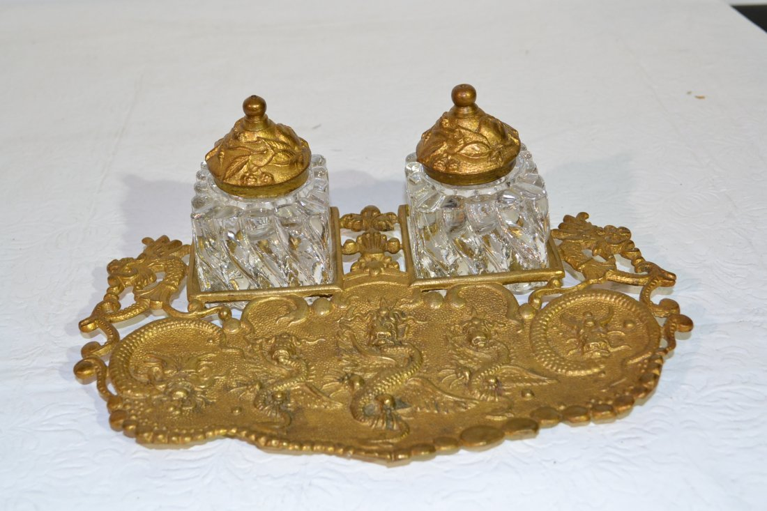 204: BRONZE DOUBLE FIGURAL INKWELL WITH INSERTS