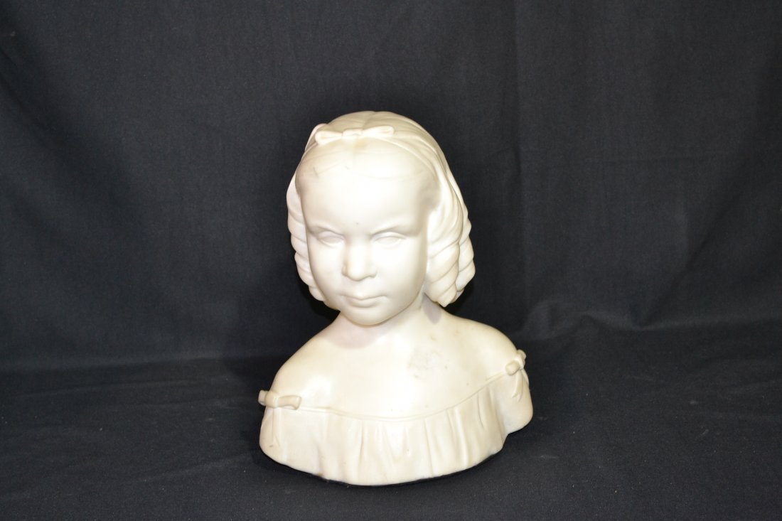 """207: MARBLE BUST OF GIRL - 10 1/2"""" x 13"""""""