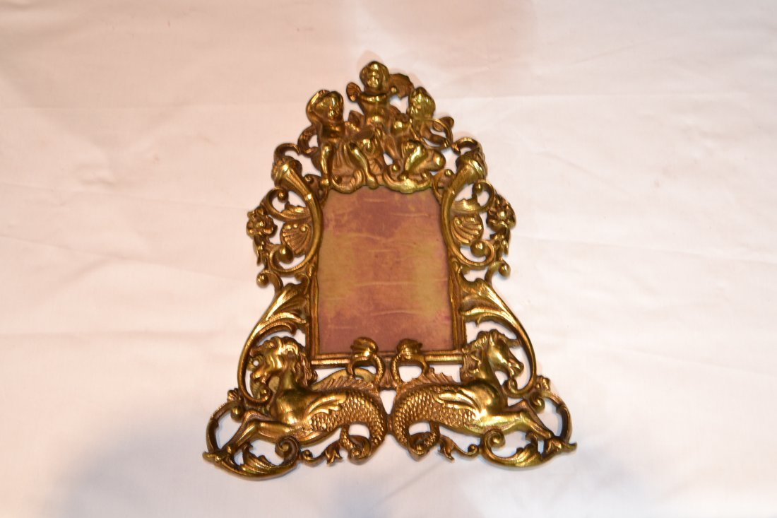210A: CARVED BRONZE EASEL PICTURE FRAME