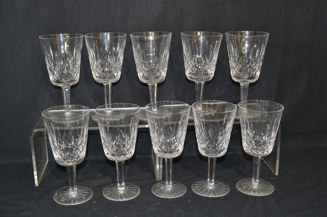 "201: SET OF (10) WATERFORD WATER GLASSES - 7"" TALL"